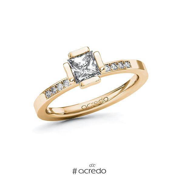 Verlobungsring in Roségold 585 mit 0,7 ct. + zus. 0,1 ct. Prinzess-Diamant tw, vs tw, si von acredo