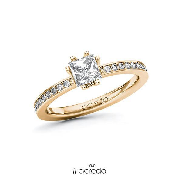 Verlobungsring in Roségold 585 mit 0,7 ct. + zus. 0,2 ct. Prinzess-Diamant tw, vs tw, si von acredo
