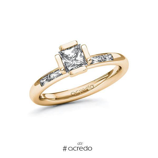 Verlobungsring in Roségold 585 mit 0,7 ct. + zus. 0,2 ct. Prinzess-Diamant Zirkonia tw, vs von acredo