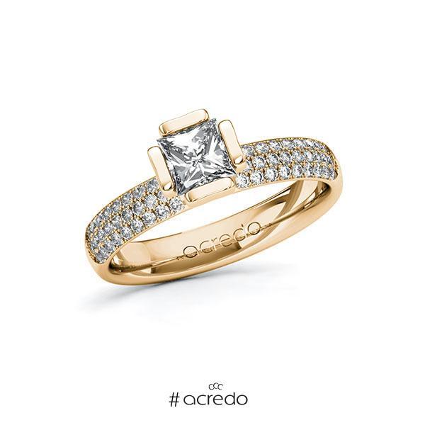 Verlobungsring in Roségold 585 mit 0,7 ct. + zus. 0,432 ct. Prinzess-Diamant tw, vs tw, si von acredo