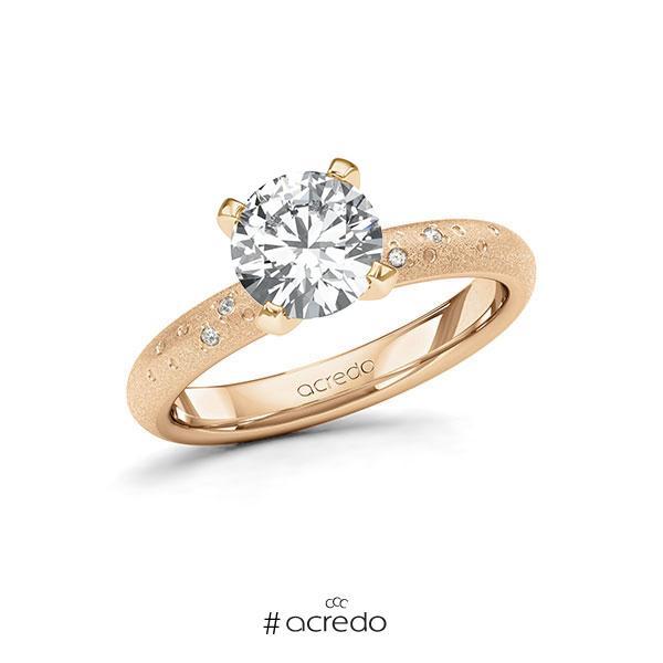 Verlobungsring in Roségold 585 mit 1,5 ct. + zus. 0,03 ct. Brillant tw, si von acredo