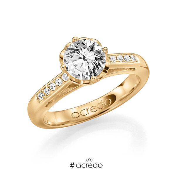 Verlobungsring in Roségold 585 mit 1 ct. 10 St. zusammen 0,08ct. Brillant w, si tw, si von acredo