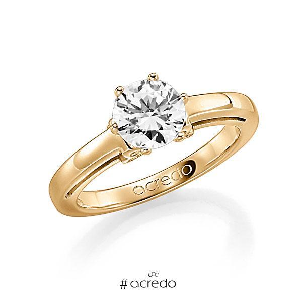 Verlobungsring in Roségold 585 mit 1 ct. 12 St. zusammen 0,06ct. Brillant w, si tw, si von acredo