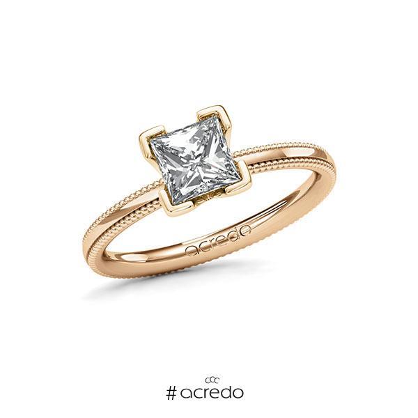 Verlobungsring in Roségold 585 mit 1 ct. Prinzess-Diamant tw, vs von acredo