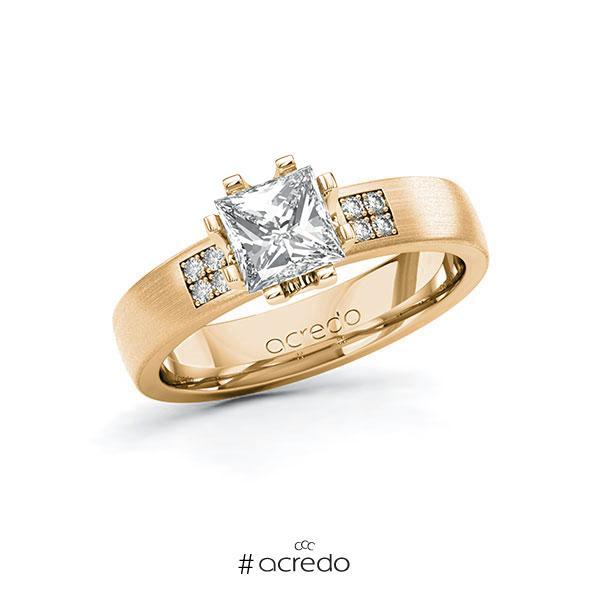 Verlobungsring in Roségold 585 mit 1 ct. + zus. 0,064 ct. Prinzess-Diamant tw, vs tw, si von acredo