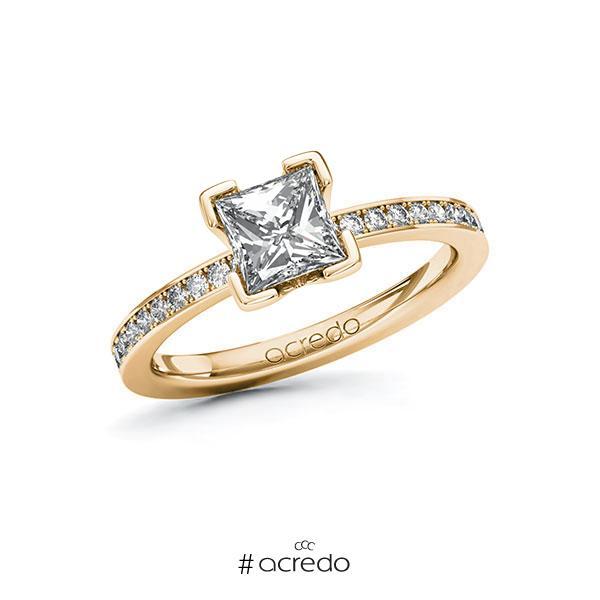 Verlobungsring in Roségold 585 mit 1 ct. + zus. 0,2 ct. Prinzess-Diamant tw, vs tw, si von acredo