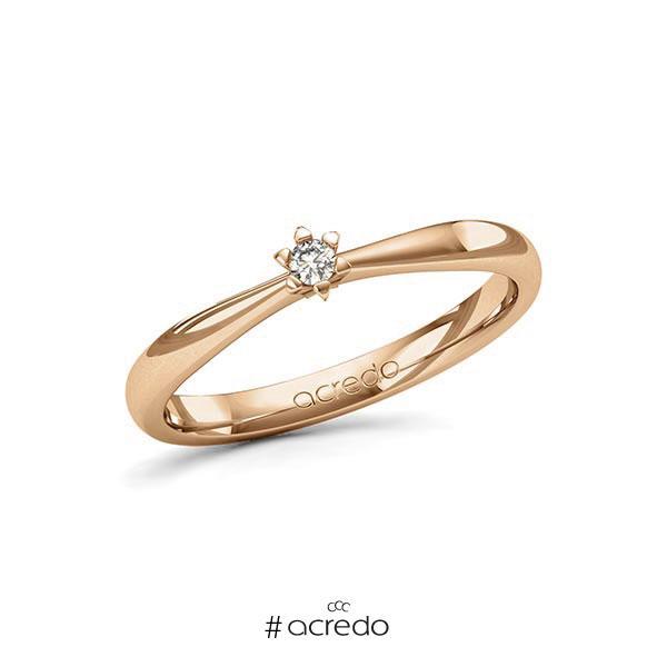 Verlobungsring in Roségold 585 mit zus. 0,05 ct. Brillant tw, si von acredo