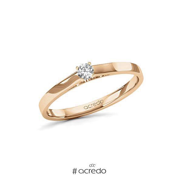 Verlobungsring in Roségold 585 mit zus. 0,12 ct. Brillant tw, si von acredo