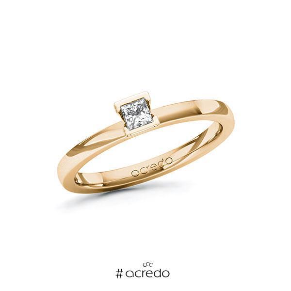 Verlobungsring in Roségold 585 mit zus. 0,15 ct. Prinzess-Diamant tw, si von acredo