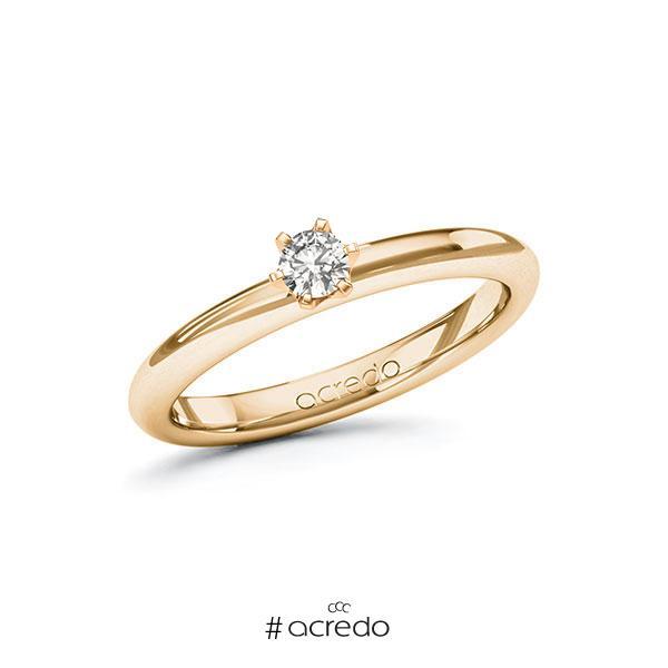 Verlobungsring in Roségold 585 mit zus. 0,15 ct. tw, si von acredo
