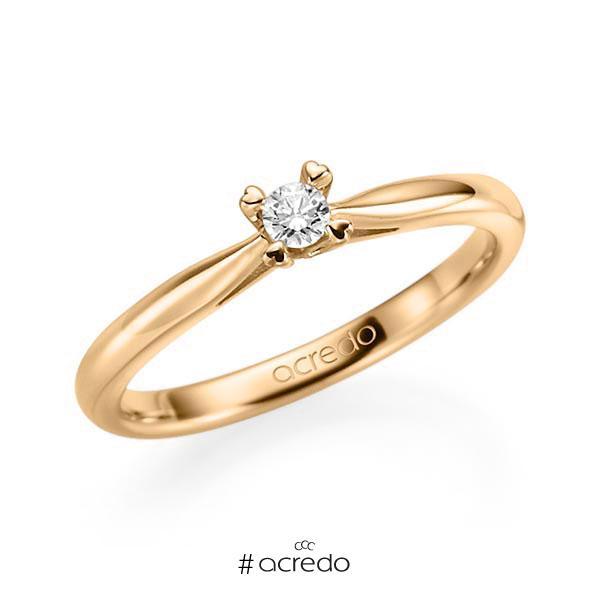 Verlobungsring in Roségold 585 mit zus. 0,1 ct. Brillant tw, si von acredo