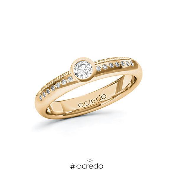 Verlobungsring in Roségold 585 mit zus. 0,22 ct. Brillant tw, si von acredo