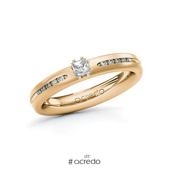 Verlobungsring in Roségold 585 mit zus. 0,23 ct. Prinzess-Diamant tw, si von acredo