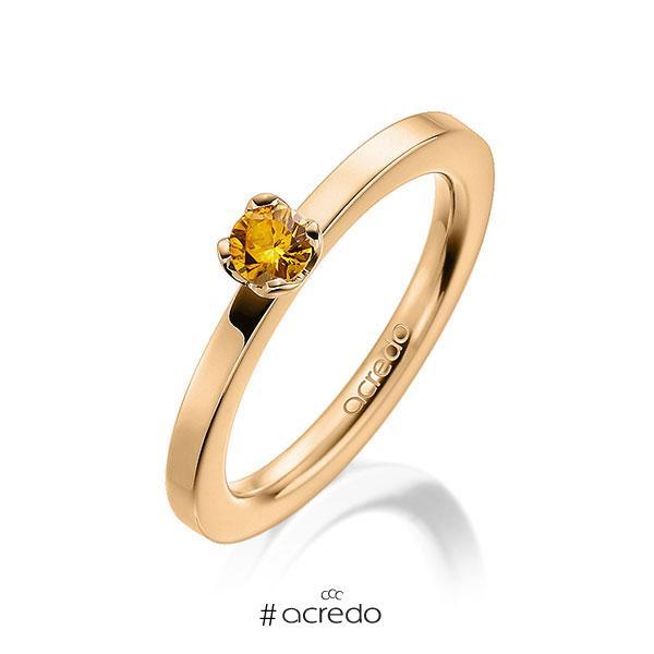 Verlobungsring in Roségold 585 mit zus. 0,25 ct. Brillant Saphir Gelb (A 8) von acredo