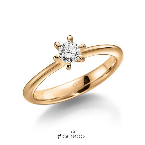 Verlobungsring in Roségold 585 mit zus. 0,25 ct. Brillant tw, vs von acredo