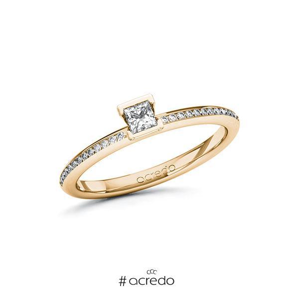 Verlobungsring in Roségold 585 mit zus. 0,28 ct. Prinzess-Diamant tw, si von acredo