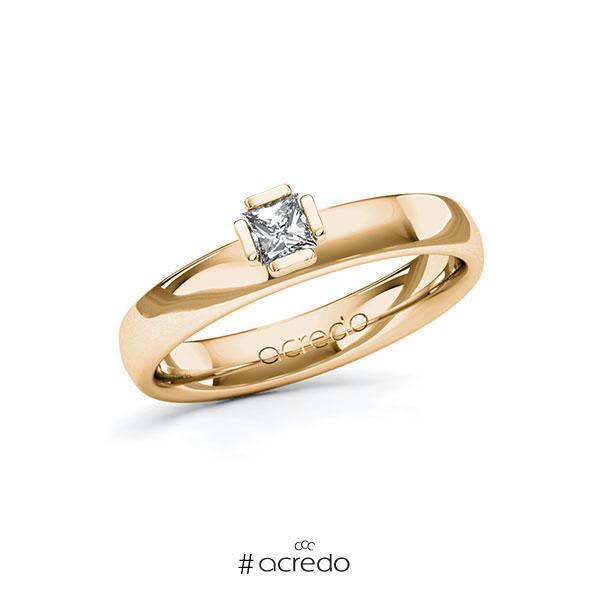 Verlobungsring in Roségold 585 mit zus. 0,2 ct. Prinzess-Diamant tw, si von acredo