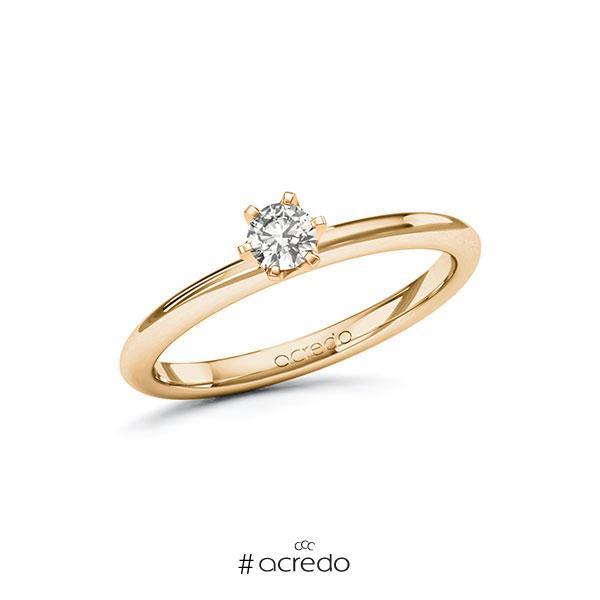 Verlobungsring in Roségold 585 mit zus. 0,2 ct. tw, si von acredo