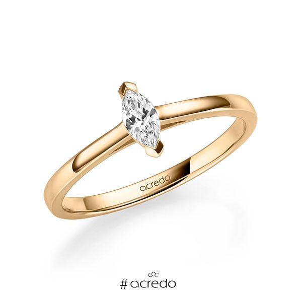 Verlobungsring in Roségold 585 mit zus. 0,2 ct. tw, vs von acredo