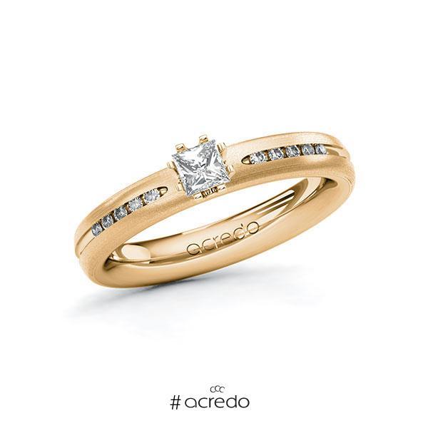 Verlobungsring in Roségold 585 mit zus. 0,33 ct. Prinzess-Diamant tw, si von acredo