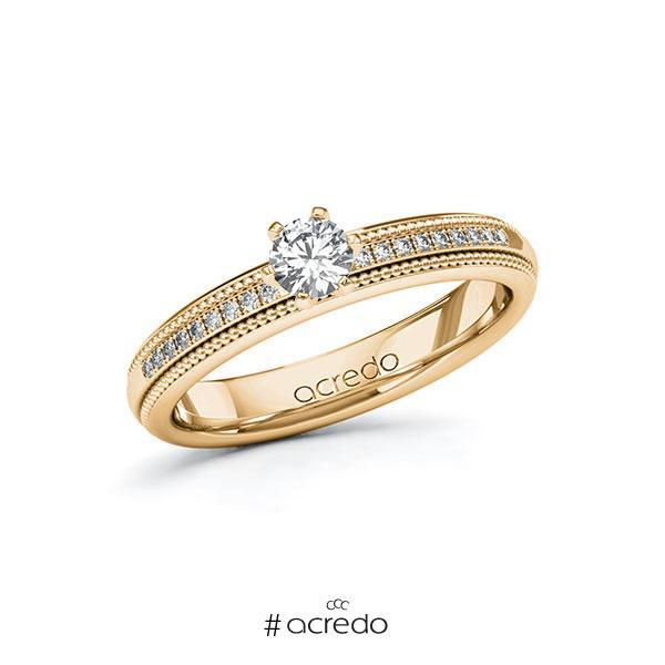 Verlobungsring in Roségold 585 mit zus. 0,34 ct. Brillant tw, si von acredo