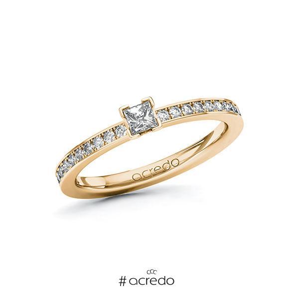 Verlobungsring in Roségold 585 mit zus. 0,35 ct. Prinzess-Diamant tw, si von acredo