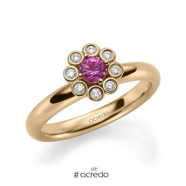 Verlobungsring in Roségold 585 mit zus. 0,37 ct. Brillant Saphir Pink (A 10) tw, si von acredo