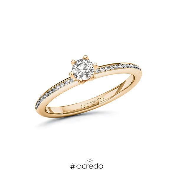 Verlobungsring in Roségold 585 mit zus. 0,38 ct. tw, si von acredo