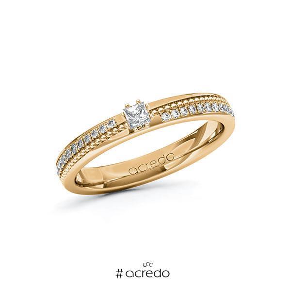 Verlobungsring in Roségold 585 mit zus. 0,396 ct. Prinzess-Diamant tw, vs tw, si von acredo