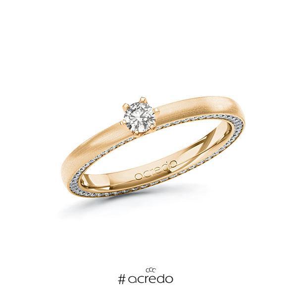 Verlobungsring in Roségold 585 mit zus. 0,44 ct. tw, si von acredo