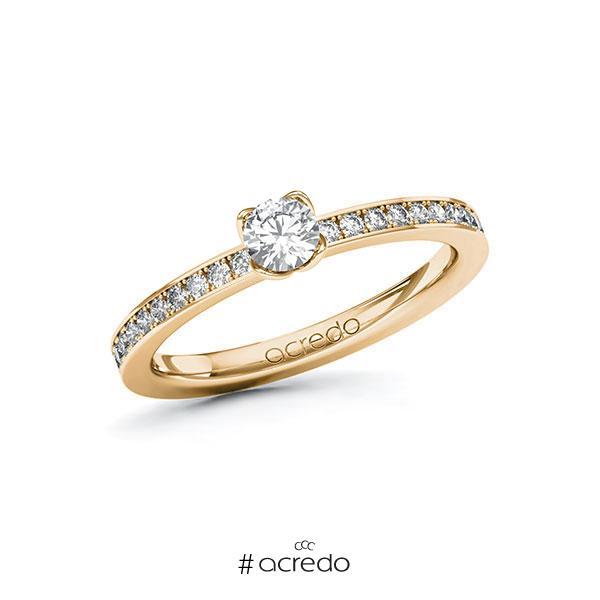 Verlobungsring in Roségold 585 mit zus. 0,45 ct. Brillant tw, si von acredo