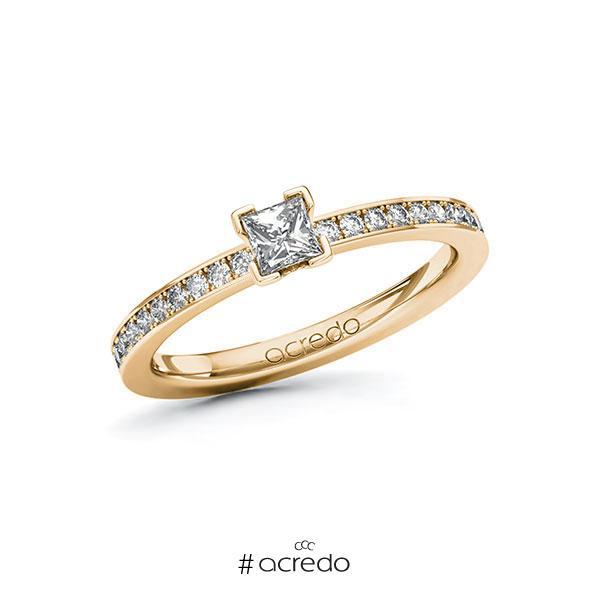 Verlobungsring in Roségold 585 mit zus. 0,45 ct. Prinzess-Diamant tw, si von acredo