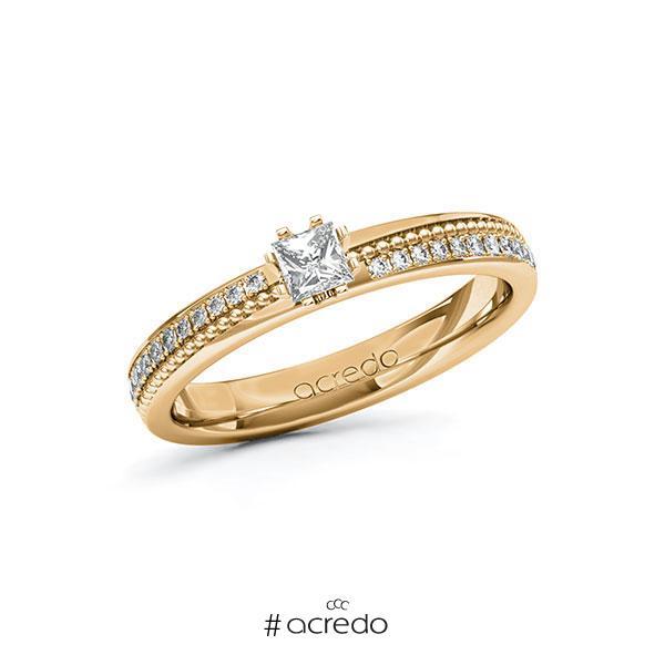 Verlobungsring in Roségold 585 mit zus. 0,496 ct. Prinzess-Diamant tw, vs tw, si von acredo