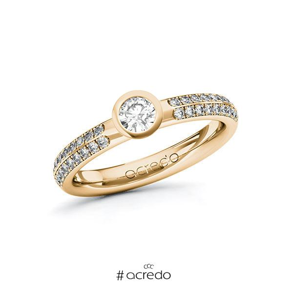 Verlobungsring in Roségold 585 mit zus. 0,538 ct. Brillant tw, si von acredo