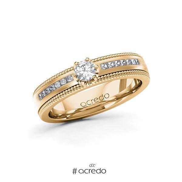 Verlobungsring in Roségold 585 mit zus. 0,62 ct. Brillant tw, vs tw, si von acredo