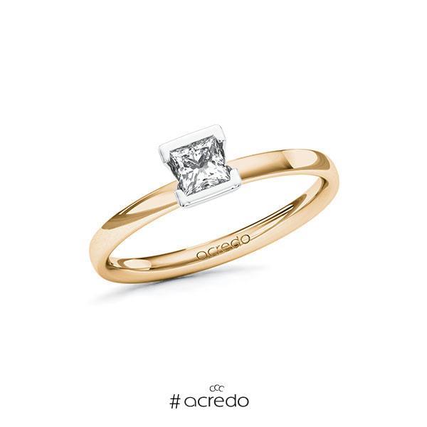 Verlobungsring in Roségold 585 Weißgold 585 mit 0,3 ct. Prinzess-Diamant tw, vs von acredo