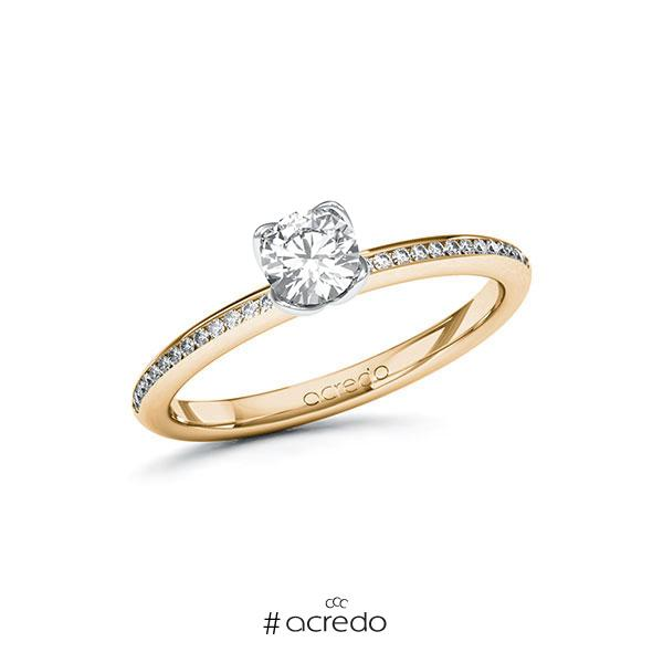 Verlobungsring in Roségold 585 Weißgold 585 mit 0,4 ct. + zus. 0,13 ct. Brillant tw, vs tw, si von acredo