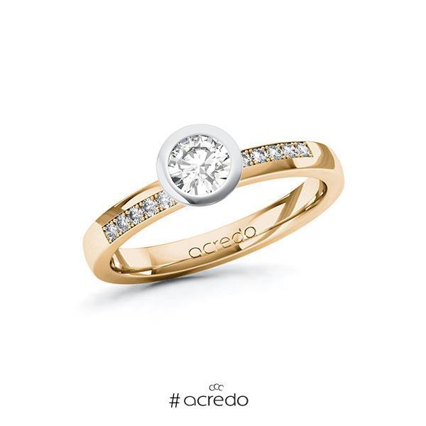 Verlobungsring in Roségold 585 Weißgold 585 mit 0,4 ct. + zus. 0,1 ct. Brillant tw, si von acredo