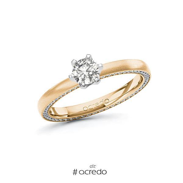Verlobungsring in Roségold 585 Weißgold 585 mit 0,4 ct. + zus. 0,29 ct. tw, si von acredo