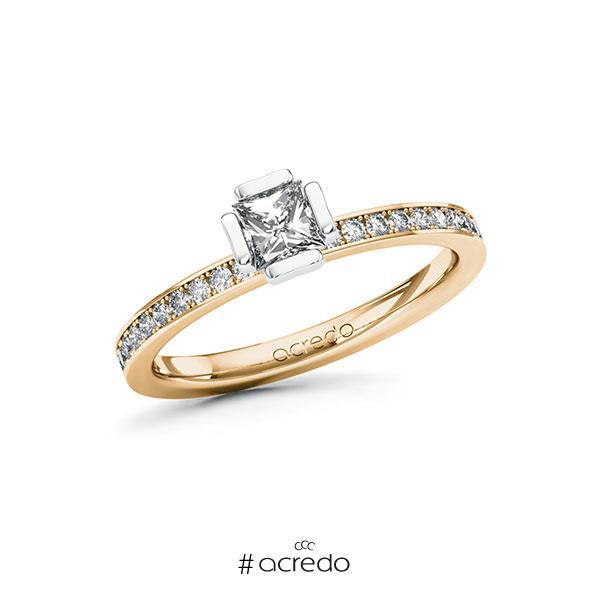 Verlobungsring in Roségold 585 Weißgold 585 mit 0,4 ct. + zus. 0,2 ct. Prinzess-Diamant tw, vs tw, si von acredo
