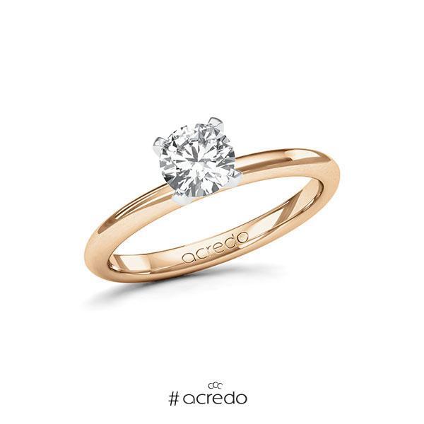 Verlobungsring in Roségold 585 Weißgold 585 mit 0,7 ct. Brillant tw, si von acredo