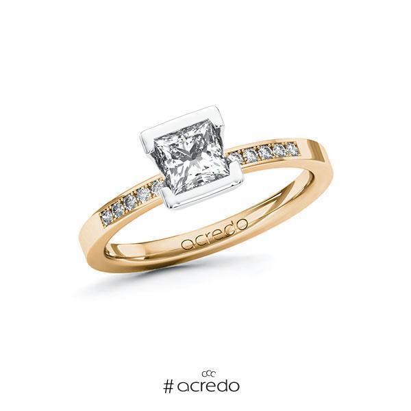 Verlobungsring in Roségold 585 Weißgold 585 mit 0,7 ct. + zus. 0,08 ct. Prinzess-Diamant tw, vs tw, si von acredo