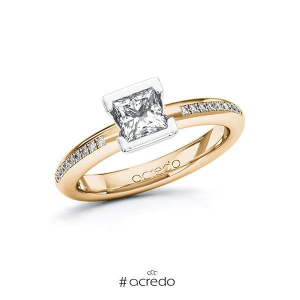 Verlobungsring in Roségold 585 Weißgold 585 mit 0,7 ct. + zus. 0,09 ct. Prinzess-Diamant tw, vs tw, si von acredo
