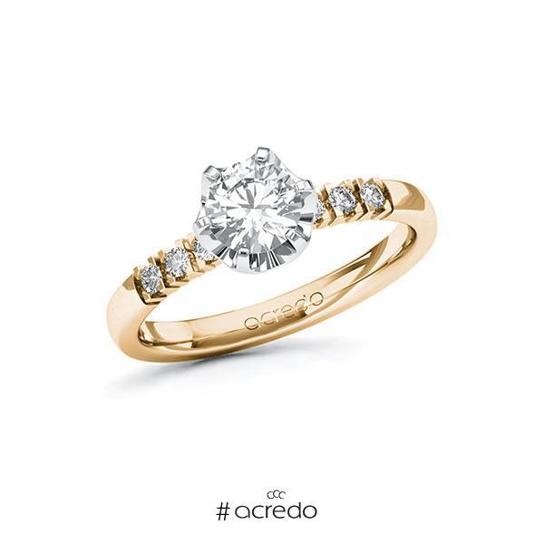 Verlobungsring in Roségold 585 Weißgold 585 mit 0,7 ct. + zus. 0,12 ct. Brillant tw, si von acredo