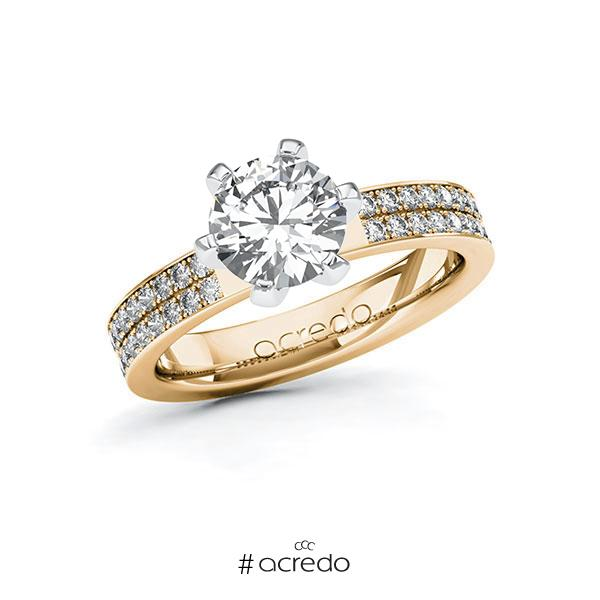 Verlobungsring in Roségold 585 Weißgold 585 mit 1,5 ct. + zus. 0,36 ct. Brillant tw, vs tw, si von acredo