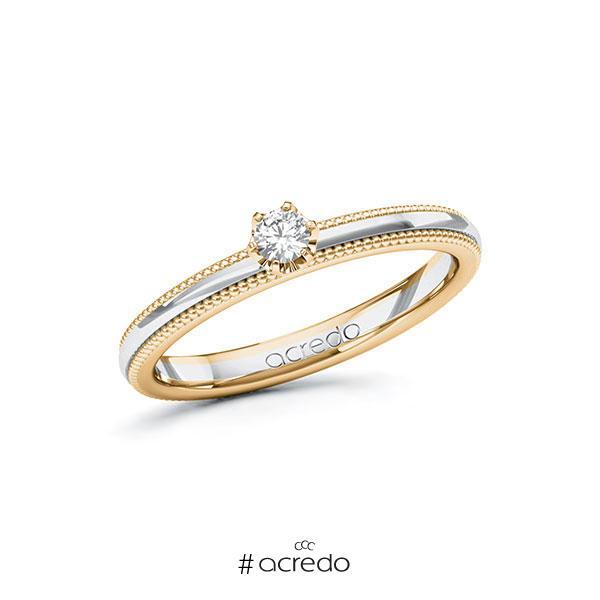 Verlobungsring in Roségold 585 Weißgold 585 mit zus. 0,1 ct. Brillant tw, si von acredo
