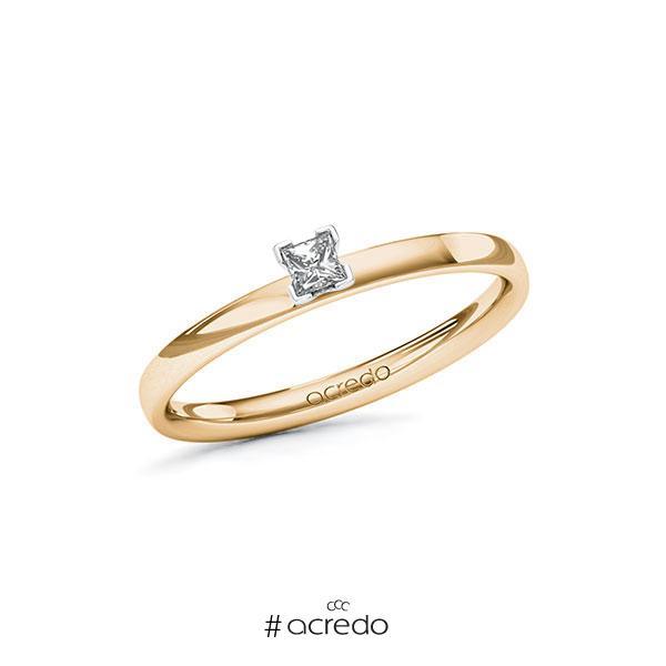 Verlobungsring in Roségold 585 Weißgold 585 mit zus. 0,1 ct. Prinzess-Diamant tw, vs von acredo