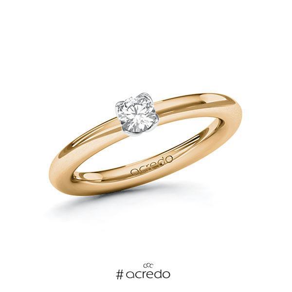 Verlobungsring in Roségold 585 Weißgold 585 mit zus. 0,25 ct. Brillant tw, vs von acredo