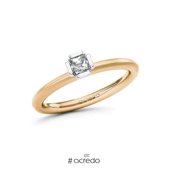 Verlobungsring in Roségold 585 Weißgold 585 mit zus. 0,25 ct. Prinzess-Diamant tw, si von acredo