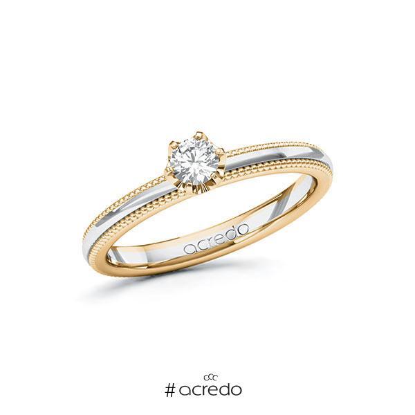 Verlobungsring in Roségold 585 Weißgold 585 mit zus. 0,2 ct. Brillant tw, si von acredo